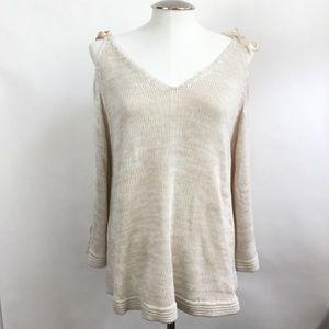 Lauren Conrad Knit V-neck Cold Shoulder Top